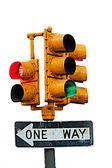 Traffic light - ONE WAY sign — Stock Photo