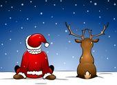 Santa en rudolph — Stockvector