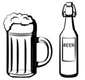 A bottle and a glass of beer — Stock Vector