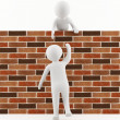 3D man helping a friend jump over the wall — 图库照片