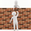 3D man helping a friend jump over the wall — ストック写真