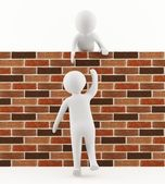 3D man helping a friend jump over the wall — Stock Photo