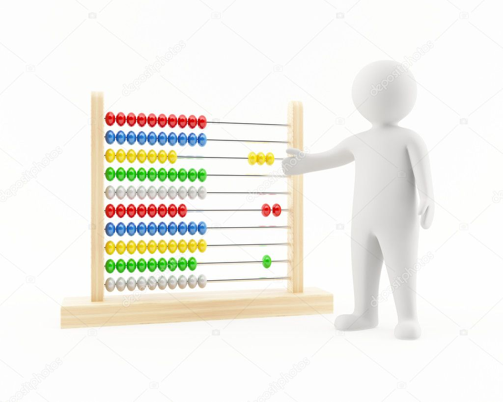 3D man pointing at an abacus  Stock Photo #10407339
