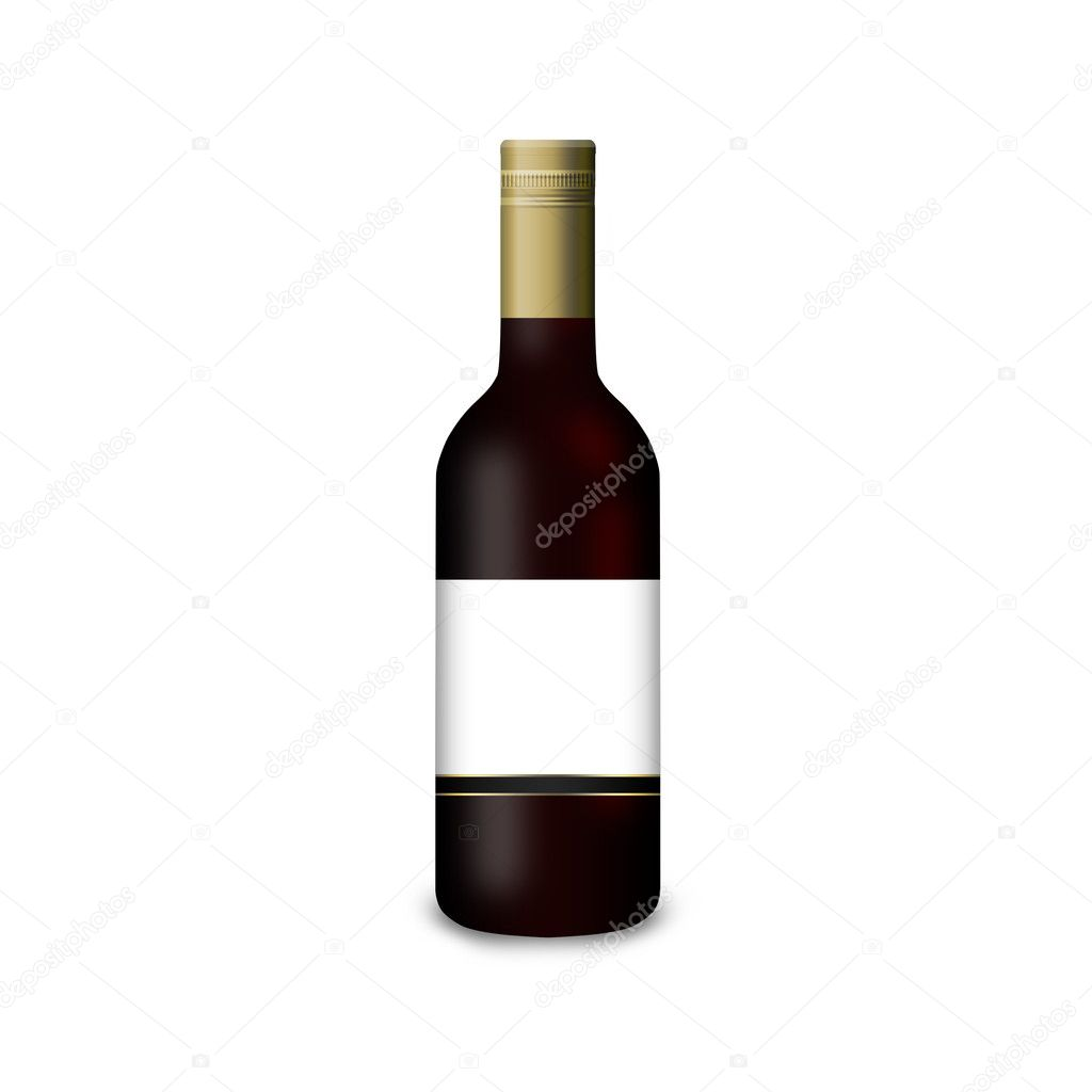 3D wine bottle on a white background — Stock Photo #9838294