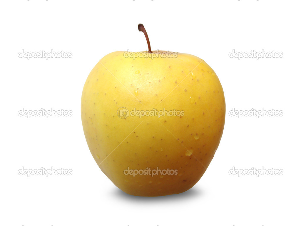 Fresh golden apple isolated on white — Stock Photo #9838308