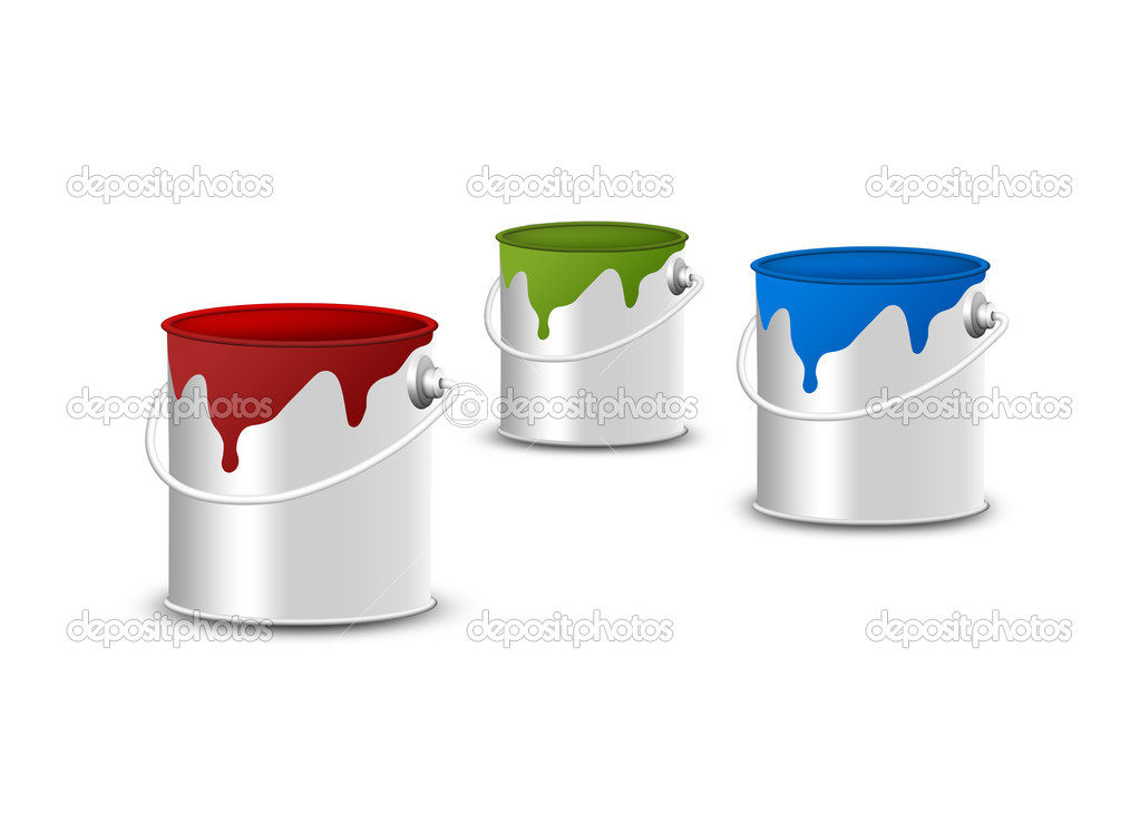 Paint buckets isolated on white — Stock Photo #9838312