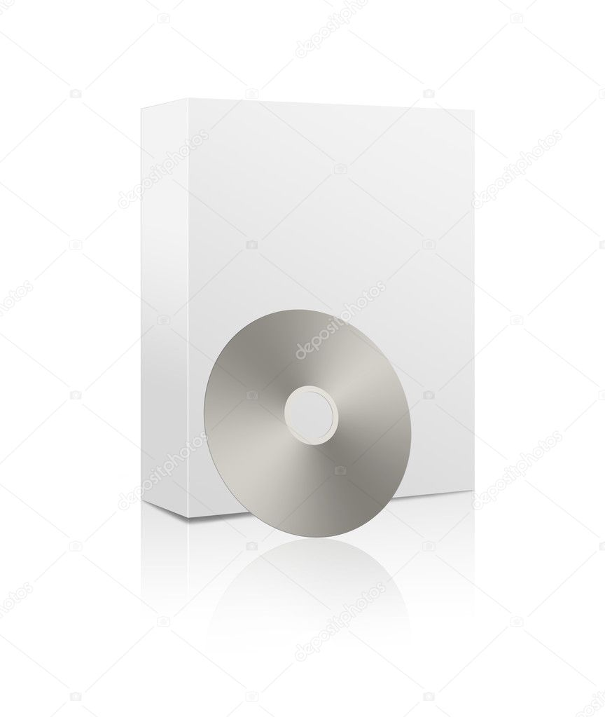 3D rendering of a blank white software box with a cd or dvd — Stock Photo #9851749