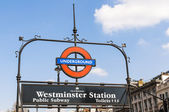 LONDON, UK - APRIL 02: London Underground sign at Westminster en — Stock Photo