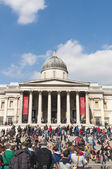 LONDON, UK - APRIL 02: Facade of The National Gallery in Trafalg — Stok fotoğraf