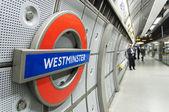 LONDON, UK - APRIL 02: London Underground sign inside Westminste — Stock Photo