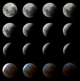 16 Phases of a Moon Eclipse — Stock Photo