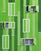 Front windows of a green building — Stock Photo
