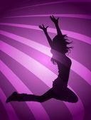 Bailarines de silueta — Vector de stock