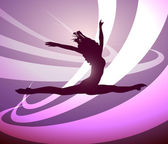 Silhouette of a girl gymnast dancing — Stock Vector