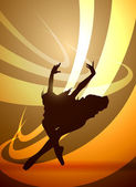 Silhouette of a girl gymnast dancing, vector — Stock Vector
