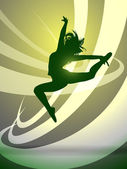 Silhouette of a girl gymnasts, vector — Stock Vector