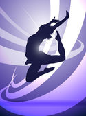 Silhouette of a girl gymnasts — Stock Vector