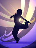 Silhouette of a girl dancer — Stock Vector