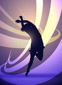 Silhouette girl gymnast, dancing — Stock Vector