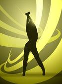 Girl silhouette dancer — Vector de stock
