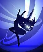 Silhuetter gymnastik dansare — Stockvektor