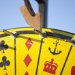 Stockfoto: Crown and Anchor Game of Chance close up vertical