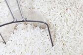 Weißer Reis mit Schaufel — Stockfoto
