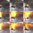 Sequence-water poured on grease fire — Stock Photo