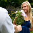 Stock Photo: Getting Flowers