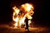Huge fireplace in winter — Стоковое фото