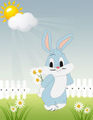 Meadow with bunny holding flower — Stock Vector