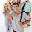 Teenagers going through the high school — Stock Photo #10277890
