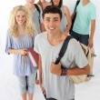 Teenagers going through the high school — Stock Photo #10277895
