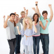 Stock Photo: Successful friends standing against white background