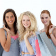 Stock Photo: Beautiful teenagers with shopping bags