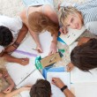Group of Teenagers studying together — Stock Photo