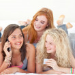 Happy teen girls after shopping clothes - Stock Photo