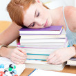 Royalty-Free Stock Photo: Tired teeenager sleeping on books