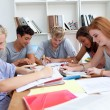 Teenagers doing homework in the library — Stock Photo #10278752