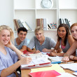 Teenagers doing homework in the library - Stock Photo