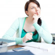 Confident teen girl studying at her desk — Stock Photo