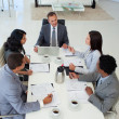 High angle of business discussing in office a plan — Stock Photo