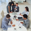 High angle of business working in a meeting — Stock Photo