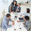 Multi-ethnic businessteam working in a project in a meeting — Stock Photo
