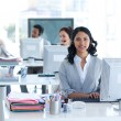 Stock Photo: Beautiful businesswomworking in call center