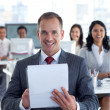 sorridente manager scrittura note in un call center — Foto Stock