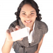 High view of a businesswoman holding a white card — Stock Photo