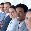 Beautiful businesswoman with her team in a line — Stock Photo #10279944