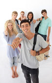 Teenagers going through the high school — Stock Photo