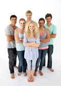 Confident teenagers standing in front of the camera — Stock Photo